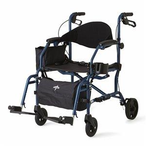 Déambulateur/chaise de transport bleu pliable/facile à ranger de Medline