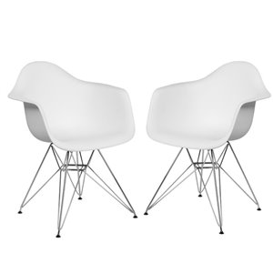 Plata Import Bucket Kid's Chairs 22-in White with Chrome Legs (Set of 2)