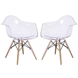 Plata Import Bucket Clear Dining Chair with Wood Legs (Set of 2)
