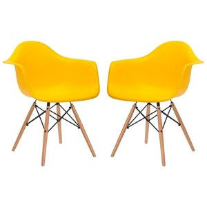 Plata Import Bucket Kid's Chairs 22-in Yellow Chair with Wood Legs (Set of 2)