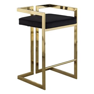 Plata Import Harvey Counter Height (22-in To 26-in) Black Velvet Stool with Gold Stainless Steel Base