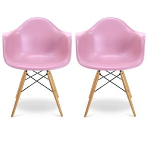 Plata Import Bucket Pink Dining Chair with Wood Legs (Set of 2)