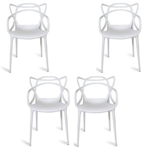 Plata Import Keeper White Dining Chair, Master Chair Replica (Set of 4)