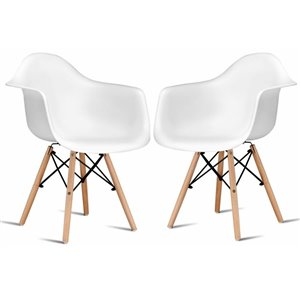 Plata Import Bucket White Dining Chair with Wood Legs (Set of 2)