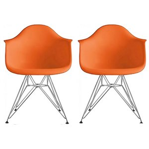 Plata Import Bucket Kid's Chairs 22-in Orange with Chrome Legs (Set of 2)