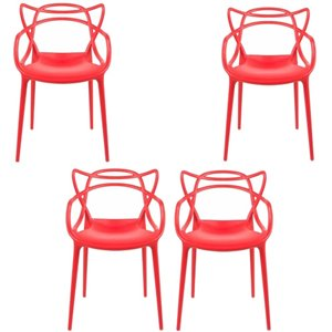 Plata Import Keeper Red Dining Chair, Master Chair Replica (Set of 4)