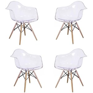 Plata Import Bucket Clear Dining Chair with Wood Legs (Set of 4)