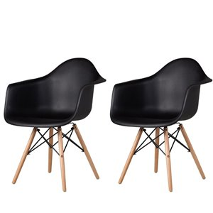 Plata Import Bucket Kid's Chairs 22-in Black Chair with Wood Legs (Set of 2)