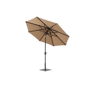 Modern Muse 10-ft Canvas Heather Beige Market Patio Umbrella Push-button