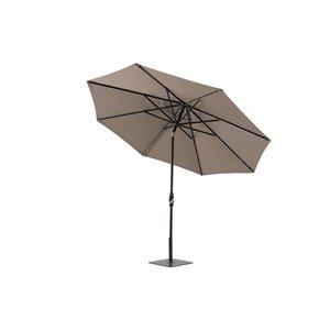 Modern Muse 10-ft Canvas Taupe Market Patio Umbrella Crank