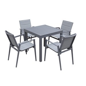 Modern Muse 5-piece Gray Frame Bistro Patio Dining Set with Grey Bistro