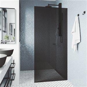 Porte de douche Zenith fixe sans cadre noir mat avec verre transparent de 74 po H x 34,13 po L de Vigo