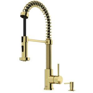 Vigo Edison Matte Brushed Gold 1-Handle Deck Mount Pull-Down Handle/Lever Kitchen Faucet