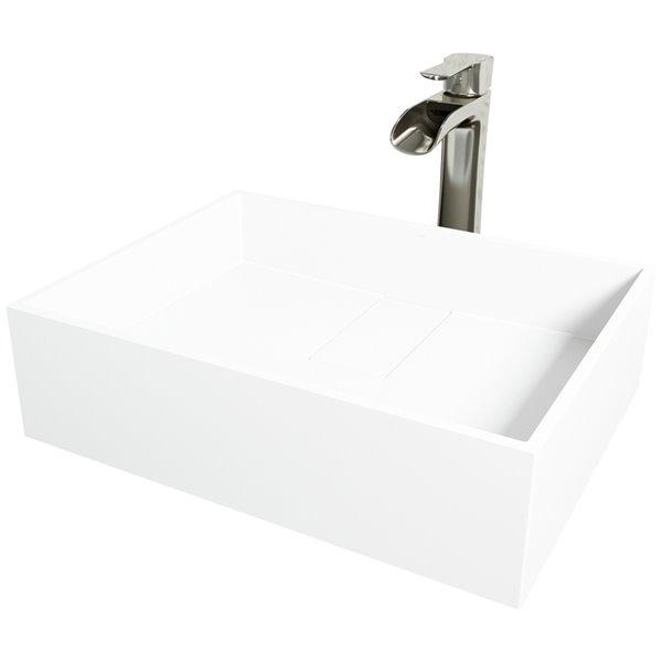 Ensemble de lavabo de salle de bain rectangulaire en pierre et robinet en nickel brossé Bryant de Vigo (13,13 po x 17,13 po)