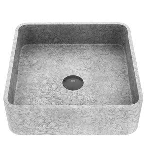 Vigo Concreto Stone Grey Concrete Vessel Square Bathroom Sink (15.38-in x 15.38-in)