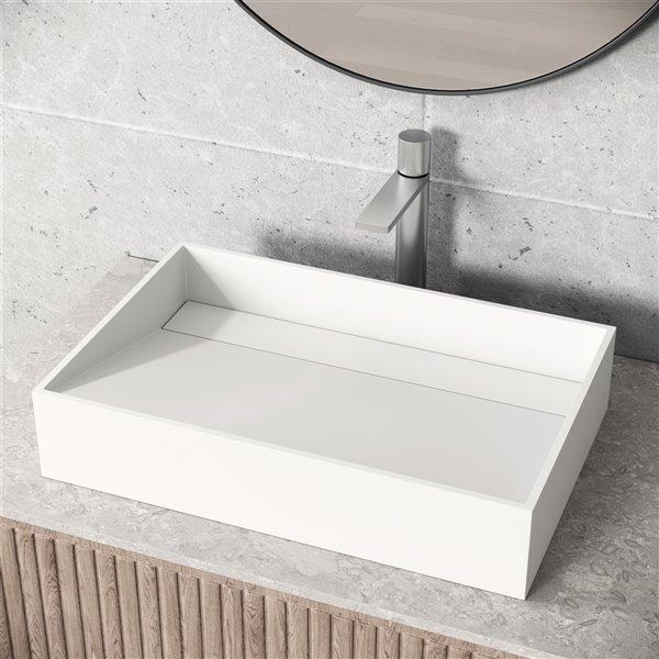 Ensemble de lavabo de salle de bain rectangulaire en pierre et robinet en blanc mat Starr de Vigo (15,13 po x 23,25 po)
