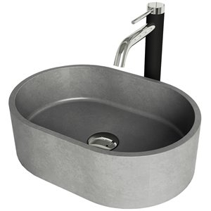 Vigo Concreto Stone Chrome Stone Vessel Oval Bathroom Sink (11.0-in x 15.75-in)