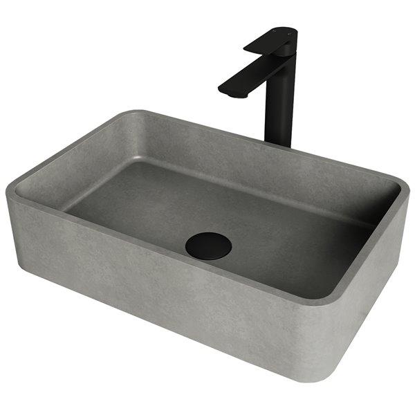 Ensemble de lavabo de salle de bain rectangulaire en pierre et robinet en noir mat Concreto Stone de Vigo (13,88 po x 19,69 po)