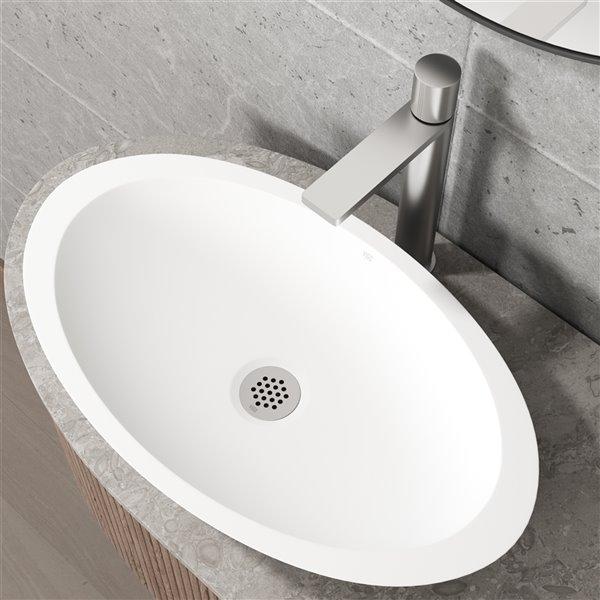 Drain et crépine fixe de lavabo de salle de bain en nickel brossé de Vigo