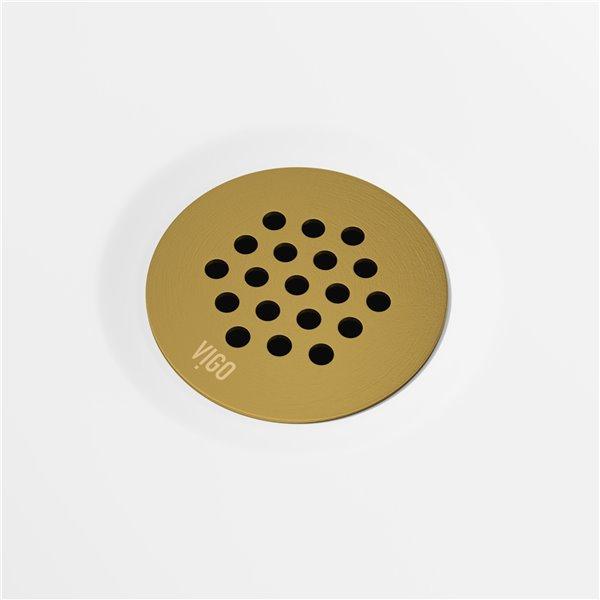 Drain et crépine fixe de lavabo de salle de bain dorés de Vigo