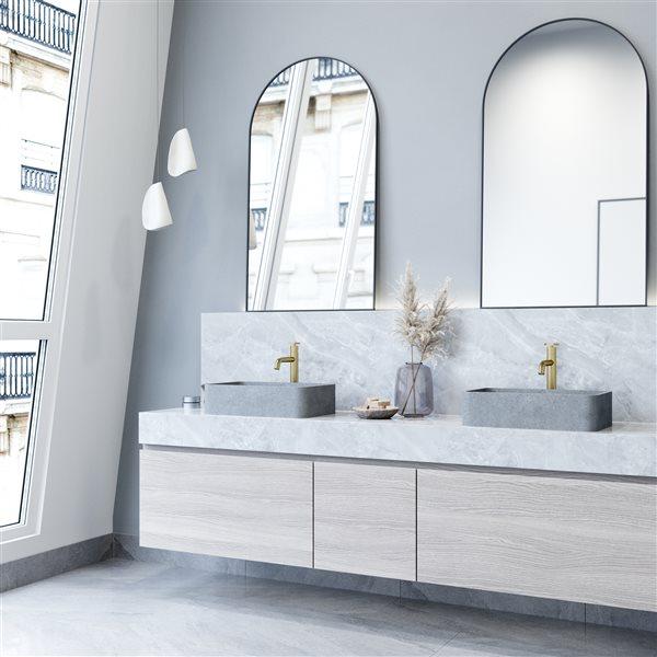 Lavabo de salle de bain rectangulaire en béton gris Concreto Stone de Vigo (12,81 po x 19,69 po)