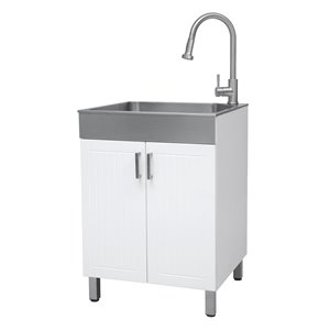 Presenza 24.2-in x 21.4-in White Freestanding Laundry Cabinet with Sink, Drain and Faucet
