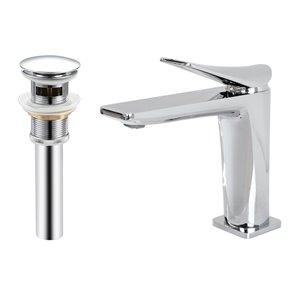 Robinet de lavabo de salle de bain Hudson à 1 poignée en chrome par Transform avec drain et plaque