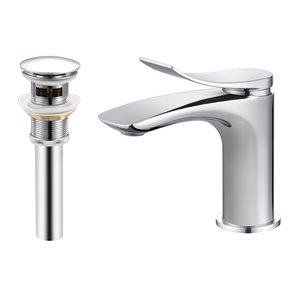 Robinet de lavabo de salle de bain Lincoln à 1 poignée en chrome par Transform avec drain et plaque