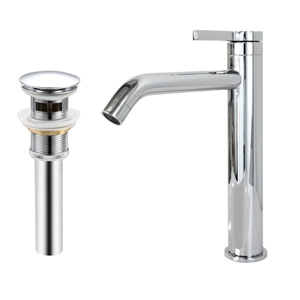 Robinet de lavabo de salle de bain Toledo à 1 poignée en chrome par Transform avec drain et plaque