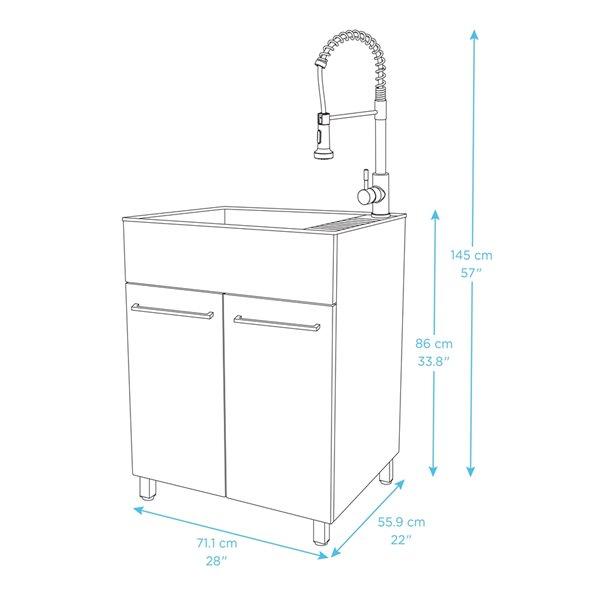 Évier de lavage sur pied blanc de 28 po x 22 po avec drain et robinet par Presenza