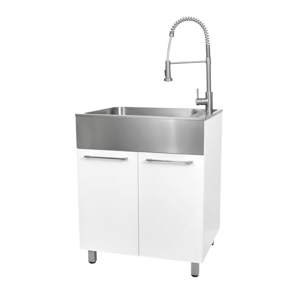 Presenza 28-in x 22-in White Freestanding Laundry Cabinet with Sink, Drain and Faucet