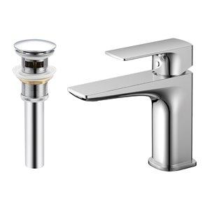 Robinet de lavabo de salle de bain Denver à 1 poignée en chrome par Transform avec drain et plaque
