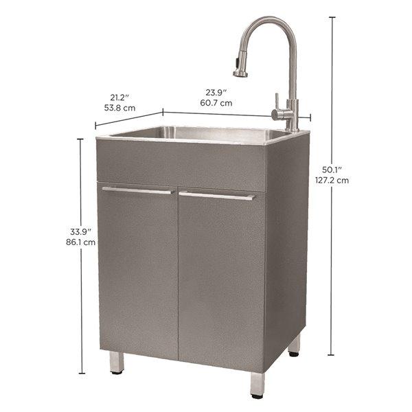 Évier de lavage sur pied gris de 23,9 po x 21,2 po avec drain et robinet par Presenza