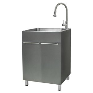 Presenza 23.9-in x 21.2-in Grey Freestanding Laundry Cabinet with Sink, Drain and Faucet