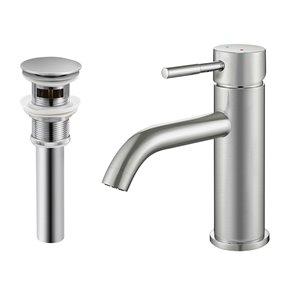 Robinet de lavabo de salle de bain Bentley à 1 poignée en nickel brossé par Transform avec drain et plaque