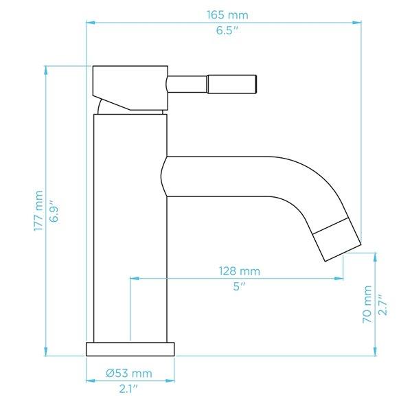 Robinet de lavabo de salle de bain Bentley à 1 poignée en chrome par Transform avec drain et plaque