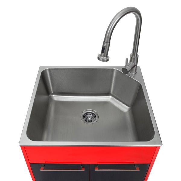 Évier de lavage sur pied rouge et noir de 23,9 po x 21,2 po avec drain et robinet par Presenza