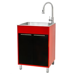 Presenza 23.9-in x 21.2-in Red and Black Freestanding Laundry Cabinet with Sink, Drain and Faucet
