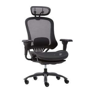 Chaise de bureau Tygerclaw pivotante de couleur noire, contemporaine et ergonomique, à hauteur réglable