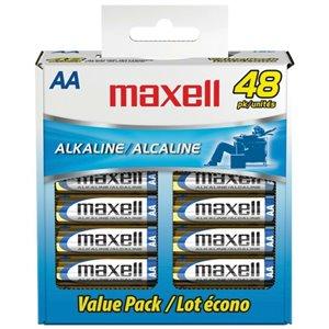 Piles Maxell alcalines AA (paquet de 48)