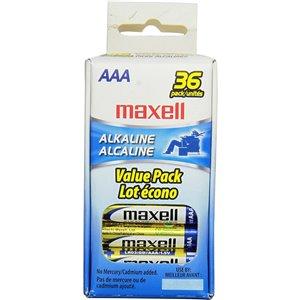 Piles Maxell alcalines AAA (paquet de 36)