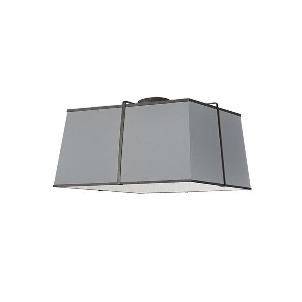 Plafonnier Trapezoid de 16 po de style moderne/contemporain gris à ampoule à incandescence de Dainolite