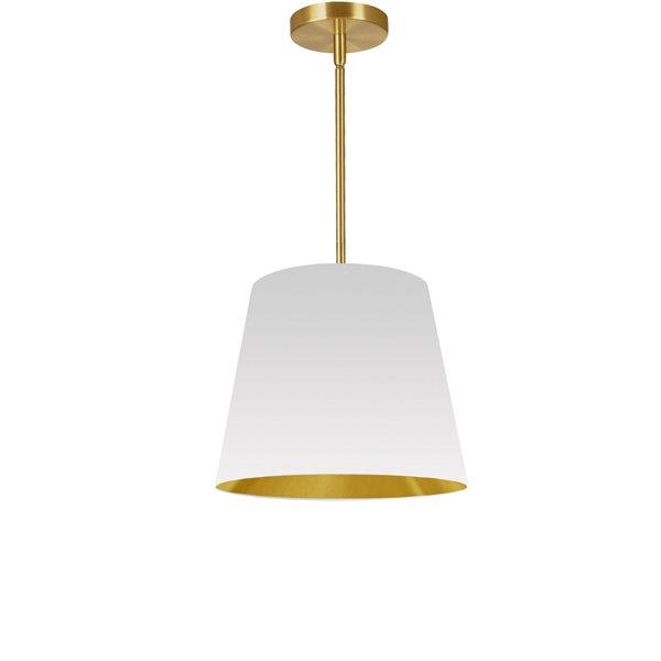 Luminaire suspendu moderne/contemporain blanc et doré Oversized Drum par Dainolite de 14 po