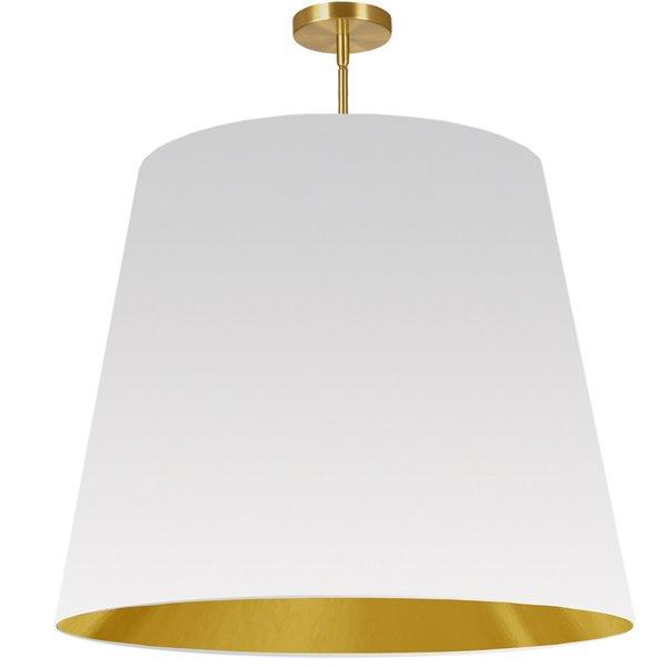 Luminaire suspendu moderne/contemporain blanc et doré Oversized Drum par Dainolite de 32 po