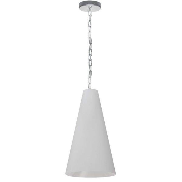 Luminaire suspendu transitionnel blanc et chromé Anaya par Dainolite, 12 po