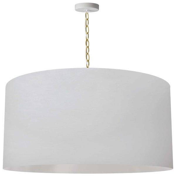Luminaire suspendu transitionnel blanc et laiton antique Braxton par Dainolite de 32 po