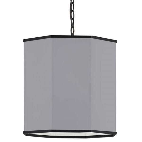 Luminaire suspendu transitionnel gris et noir mat Octavia par Dainolite de 18 po