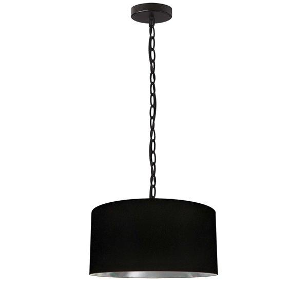 Luminaire suspendu transitionnel noir et argent Braxton par Dainolite de 14 po