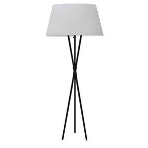 Lampe sur pied tripode Gabriela par Dainolite de 61,5 po noir mat avec abat-jour blanc