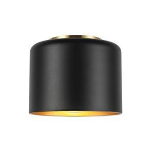 Plafonnier Emilia de 8 po de style moderne/traditionnel noir mat à ampoule à incandescence de Dainolite